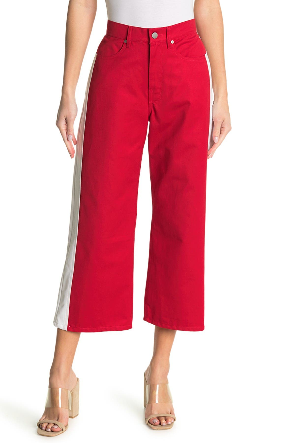 Image of BALDWIN Cropped Wide Leg Side Stripe Jeans