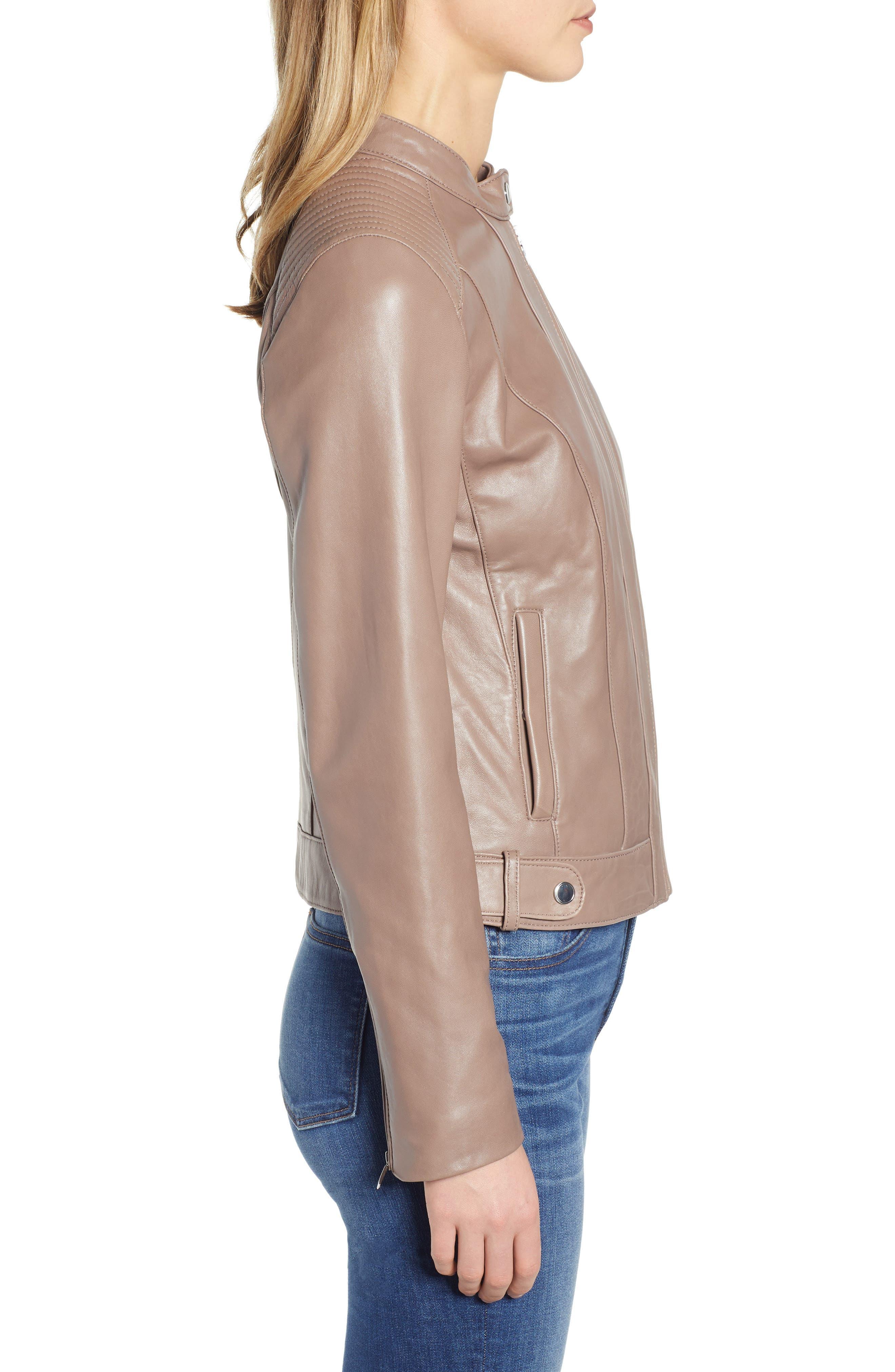 ,                             Leather Moto Jacket,                             Alternate thumbnail 4, color,                             TAUPE