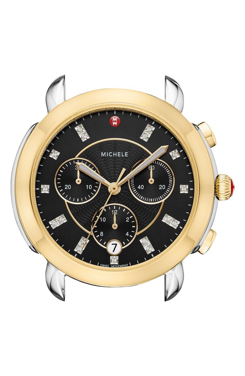 MICHELE Sidney Chronograph Diamond Watch Head, 38mm, Main, color, GOLD/ BLACK MOP/ SILVER