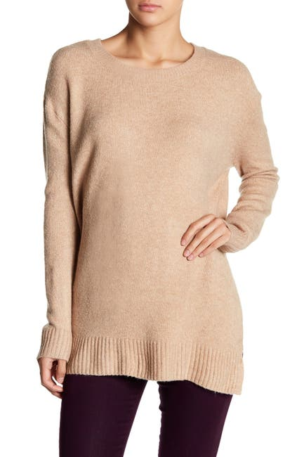 Image of Olivia Sky Oversized Side Slit Crew Neck Sweater