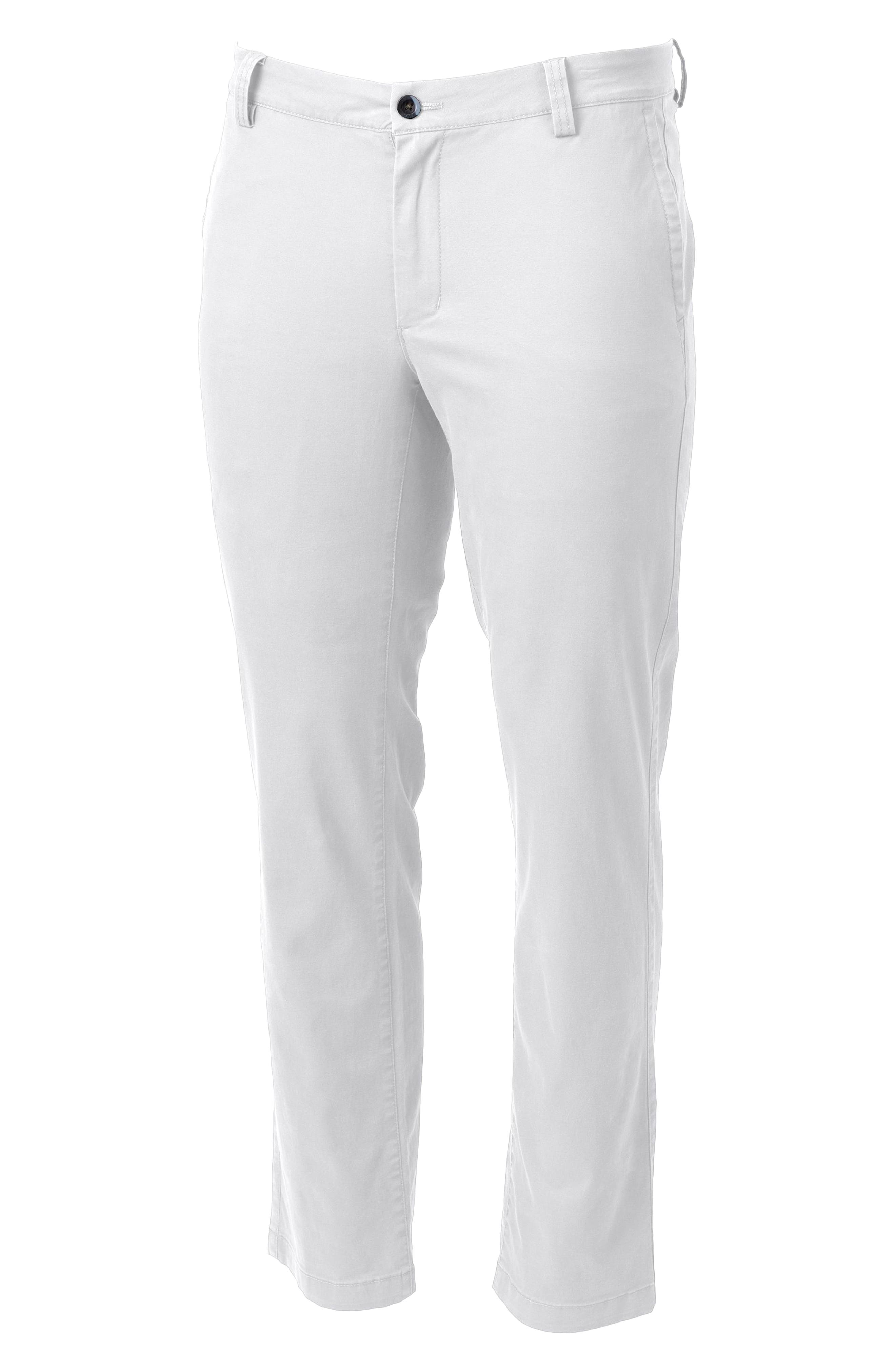Take a break from blue jeans in these handsome flat-front pants cut from stretch cotton with a traditional straight-leg profile for comfortable, all-day wear. Style Name: Cutter & Buck Voyager Classic Fit Stretch Cotton Chinos. Style Number: 5919826. Available in stores.