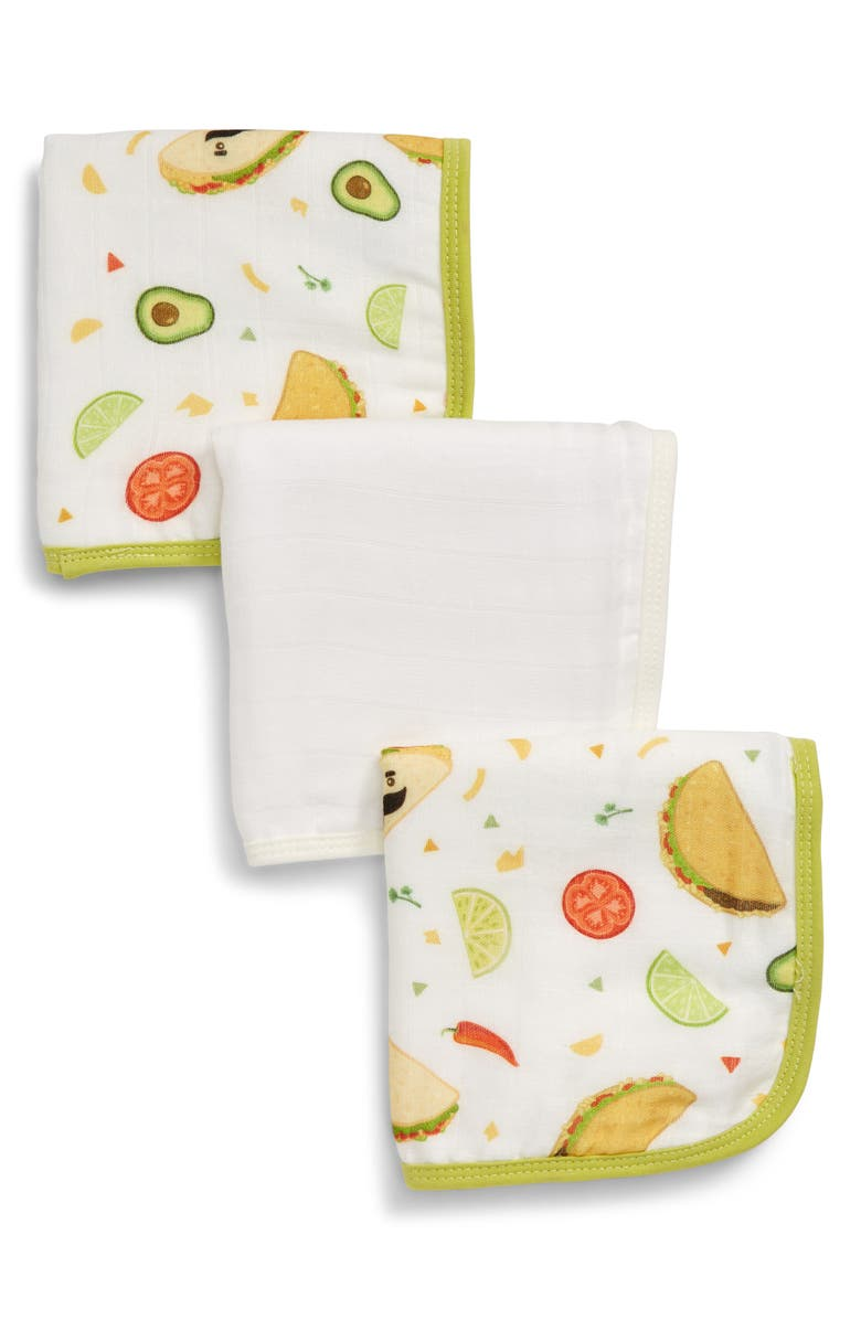 LOULOU LOLLIPOP Deluxe Pack of 3 Taco Washcloths, Main, color, TACO