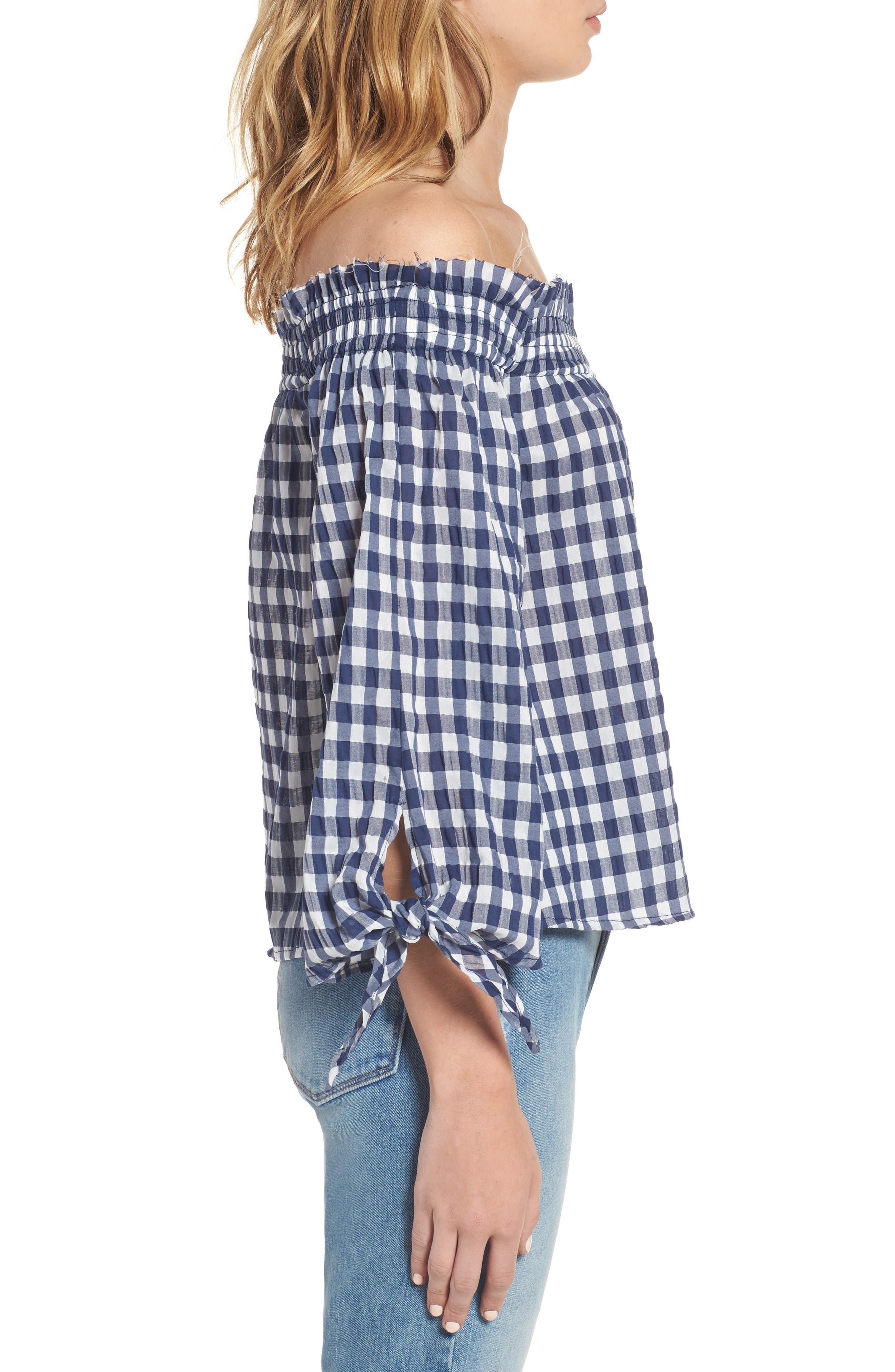 ,                             Pina Gingham Off the Shoulder Top,                             Alternate thumbnail 3, color,                             410