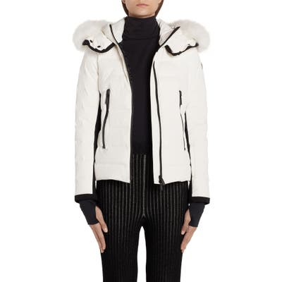 Moncler Lamoura Waterproof Quilted Down Puffer Coat With Removable Genuine Fox Fur Trim, (fits like 6-8 US) - White