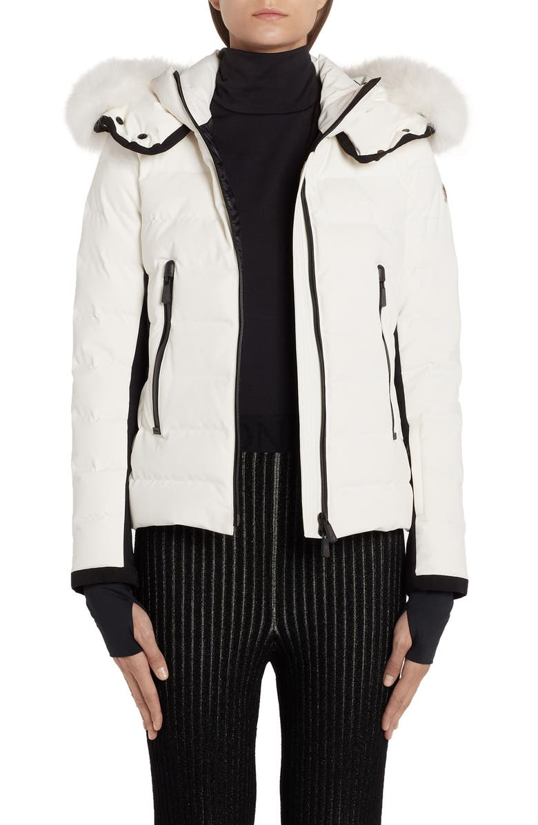MONCLER Lamoura Waterproof Quilted Down Puffer Coat with Removable Genuine Fox Fur Trim, Main, color, WHITE