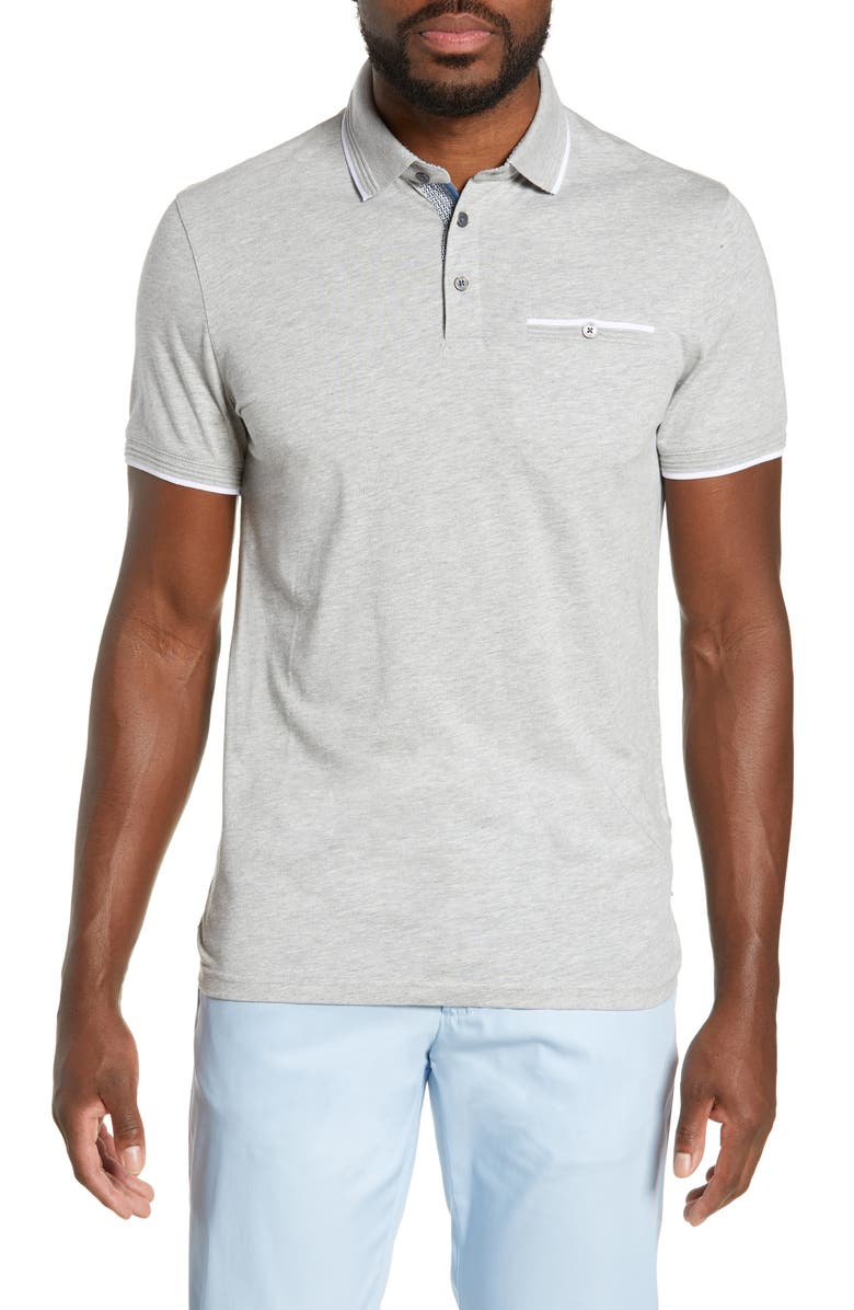 TED BAKER LONDON Derry Slim Fit Polo, Main, color, LIGHT GREY
