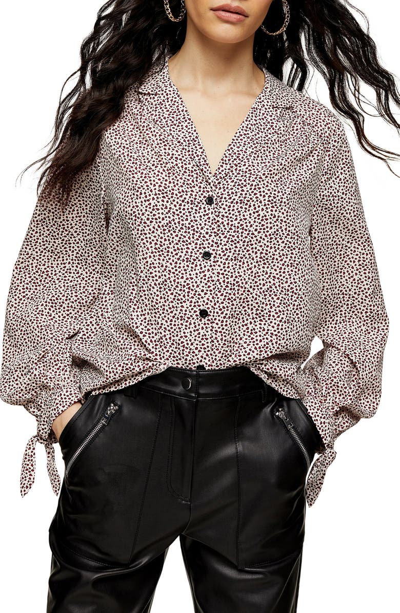 TOPSHOP Micro Animal Print Tie Sleeve Blouse, Main, color, 250