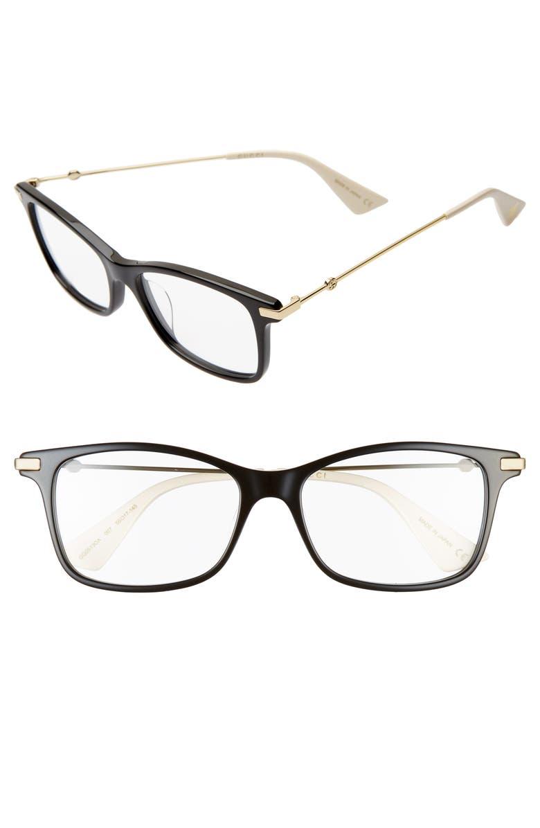 GUCCI 55mm Square Optical Glasses, Main, color, BLACK