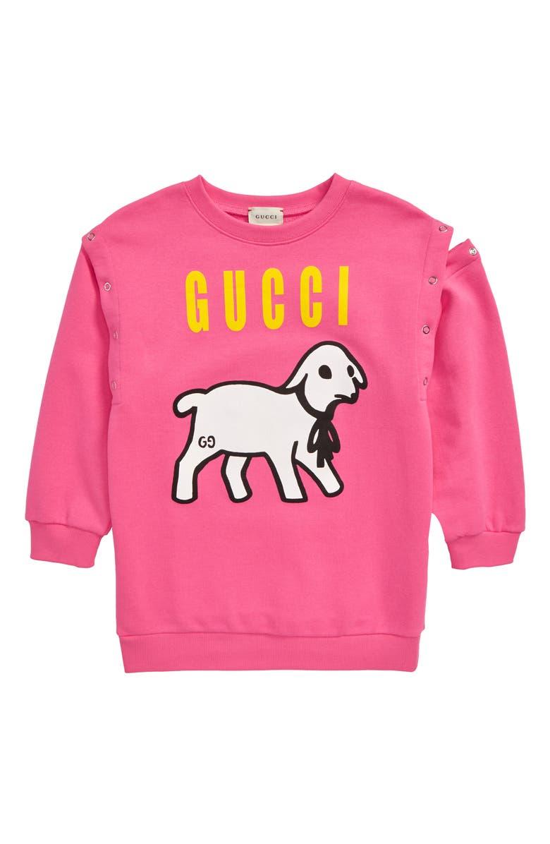 GUCCI Lamb Graphic Sweatshirt, Main, color, ROSE MIX