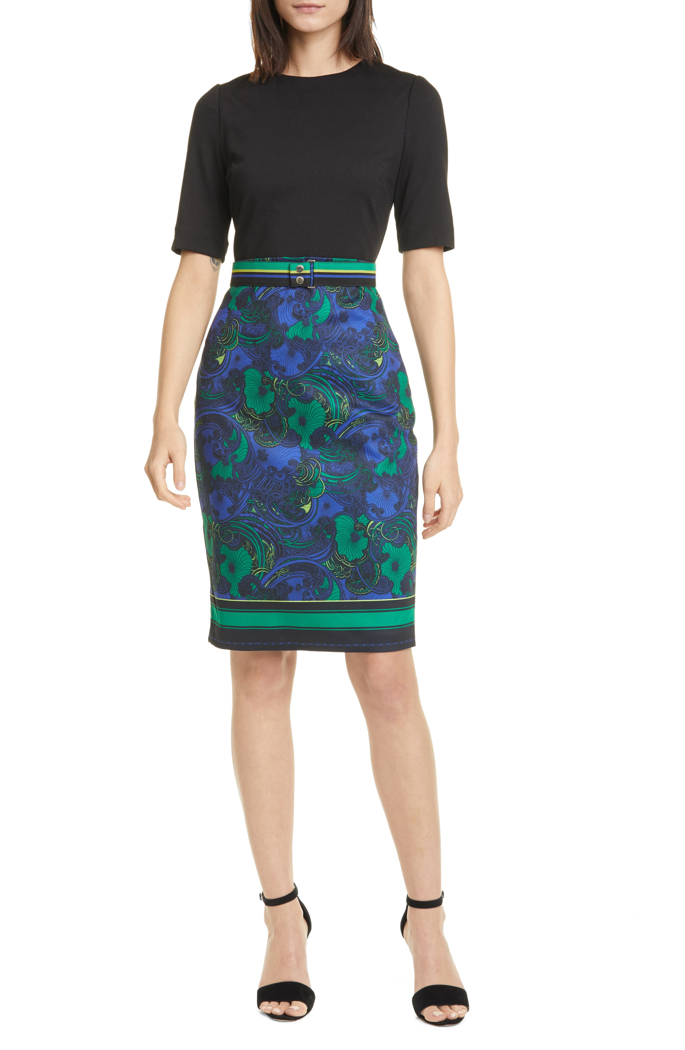 Ted Baker Lylia Stargaze Short Sleeve Waist Belt Bodycon Shift Jersey Dress $295