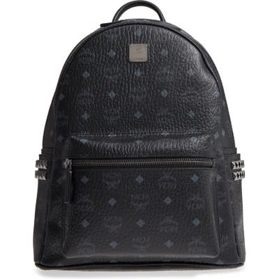 Mcm Medium Stark Side Stud Coated Canvas Backpack - Black