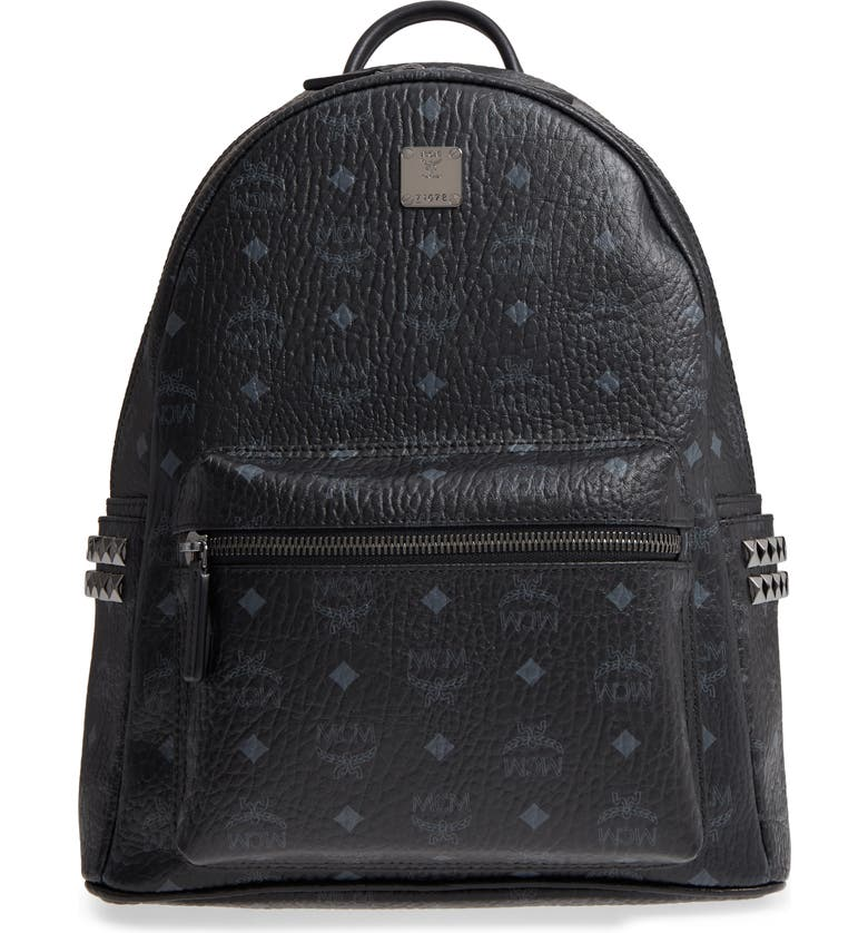 MCM Medium Stark Side Stud Coated Canvas Backpack, Main, color, BLACK