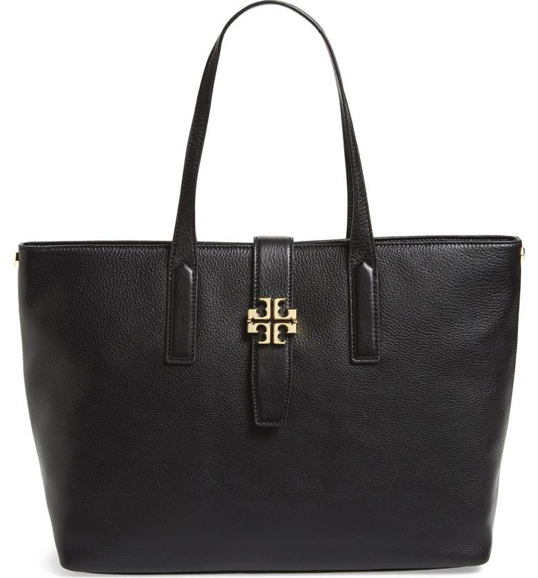 TORY BURCH 'Plaque' Leather Tote, Main, color, 001
