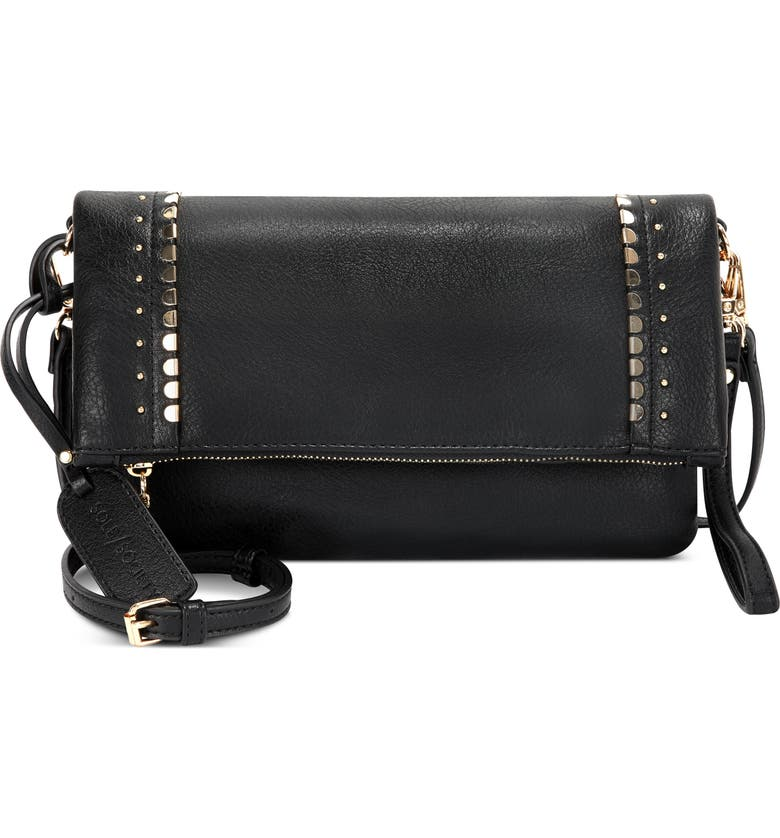 SOLE SOCIETY Studded Foldover Faux Leather Crossbody Bag, Main, color, BLACK