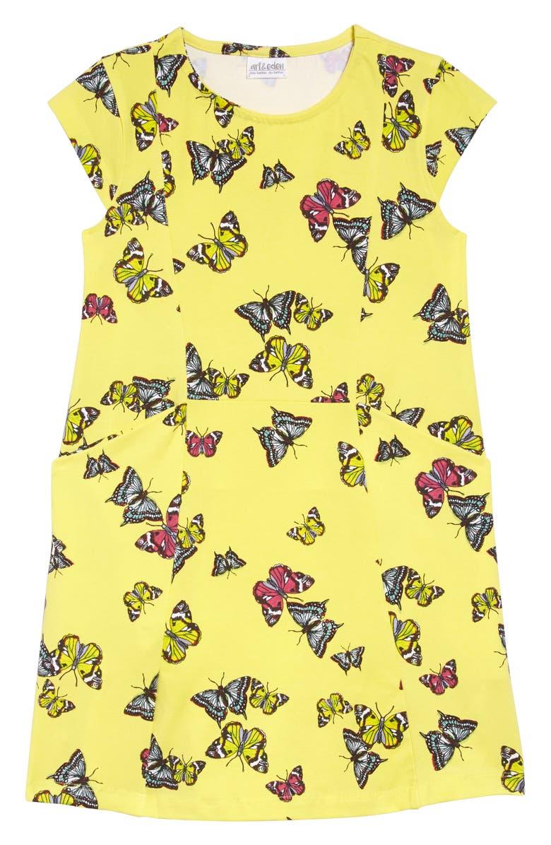 ART & EDEN Hanna Print Organic Cotton Dress, Main, color, YELLOW SCATTERED BUTTERFLY