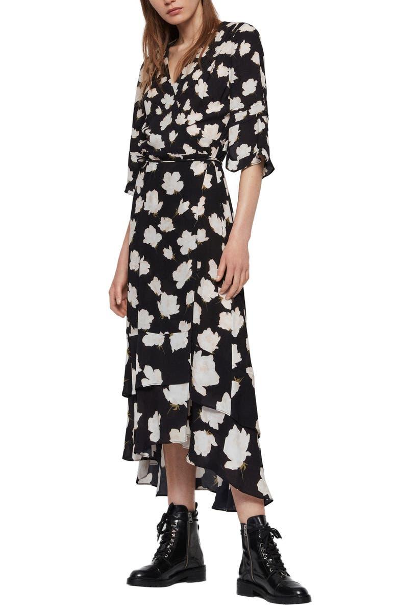 ALLSAINTS Delana Caro Print Wrap Dress, Main, color, BLACK