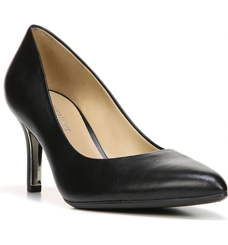 NATURALIZER Natalie Pointy Toe Pump, Main, color, BLACK LEATHER