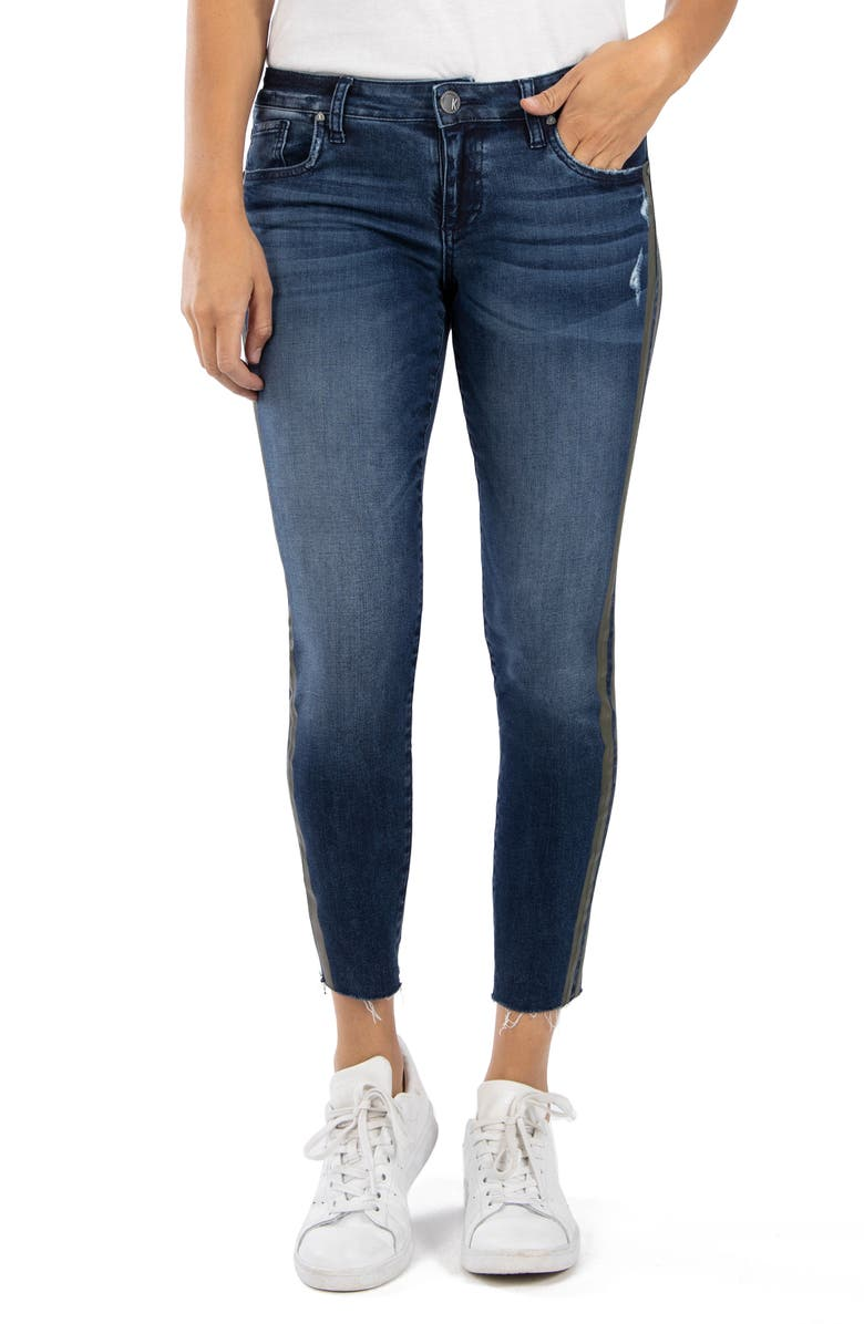 KUT FROM THE KLOTH Connie High Waist Raw Hem Ankle Skinny Jeans, Main, color, PLANT