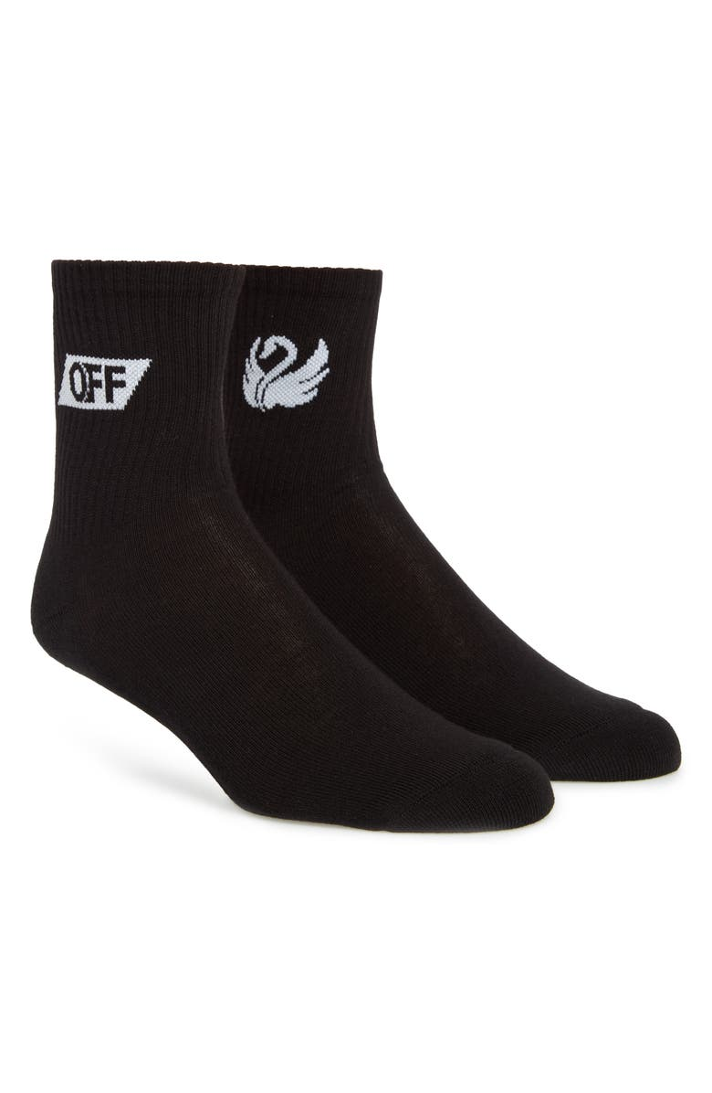 OFF-WHITE Medium Swan Socks, Main, color, BLACK WHITE