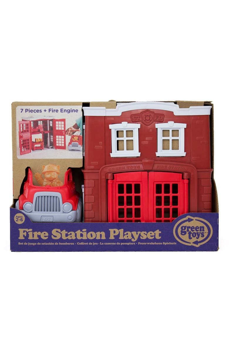 GREEN TOYS Fire Station Play Set, Main, color, RED