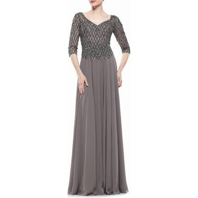 Marsoni Embellished Chiffon A-Line Gown
