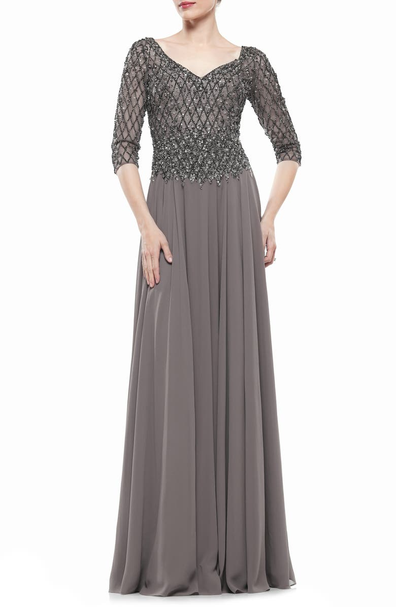 MARSONI Embellished Chiffon A-Line Gown, Main, color, CHARCOAL