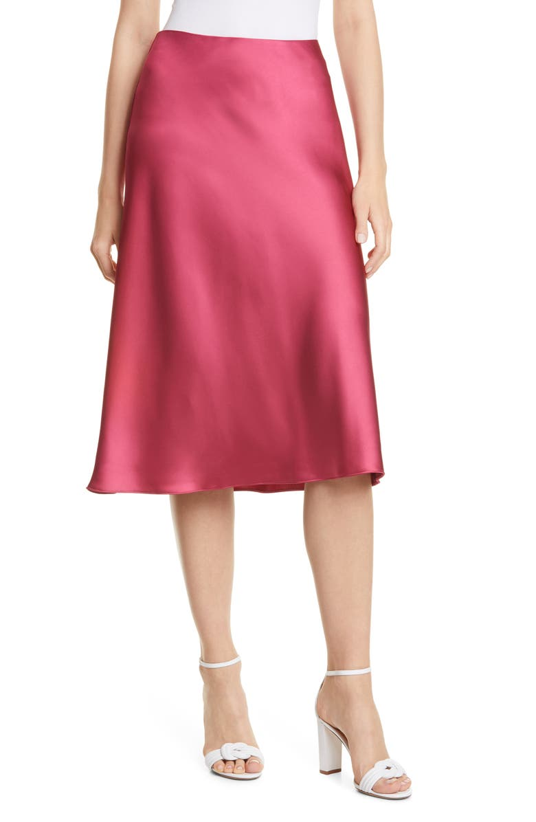 CLUB MONACO Trycia Satin Skirt, Main, color, PINK
