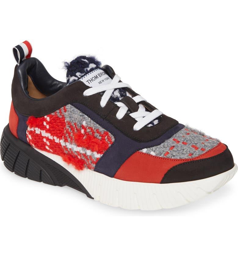 THOM BROWNE Tartan Running Sneaker, Main, color, RED PLAID