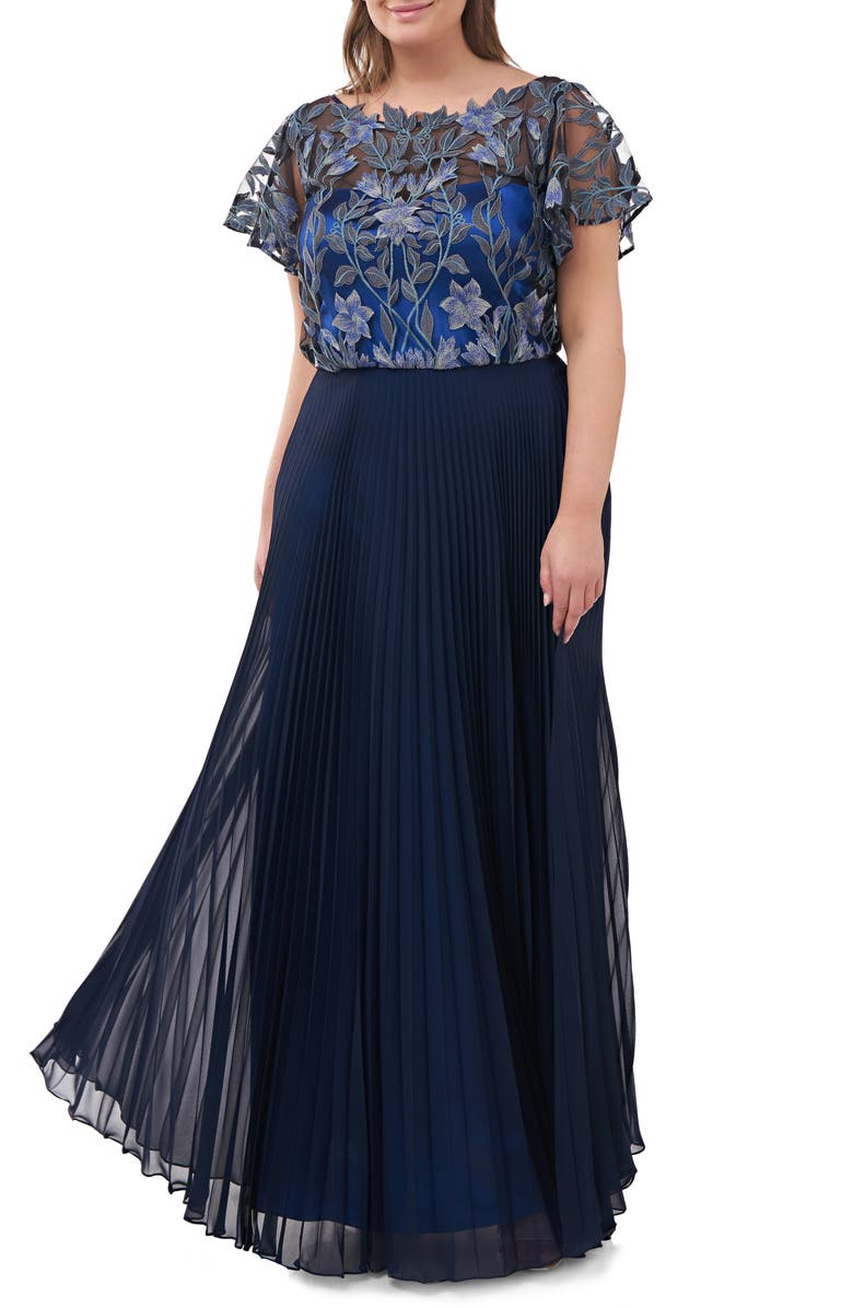 JS COLLECTIONS Embroidered Illusion Bodice Pleated Gown, Main, color, BLUE MULTI
