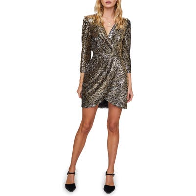 Astr The Label Selene Long Sleeve Sequin Minidress, Metallic