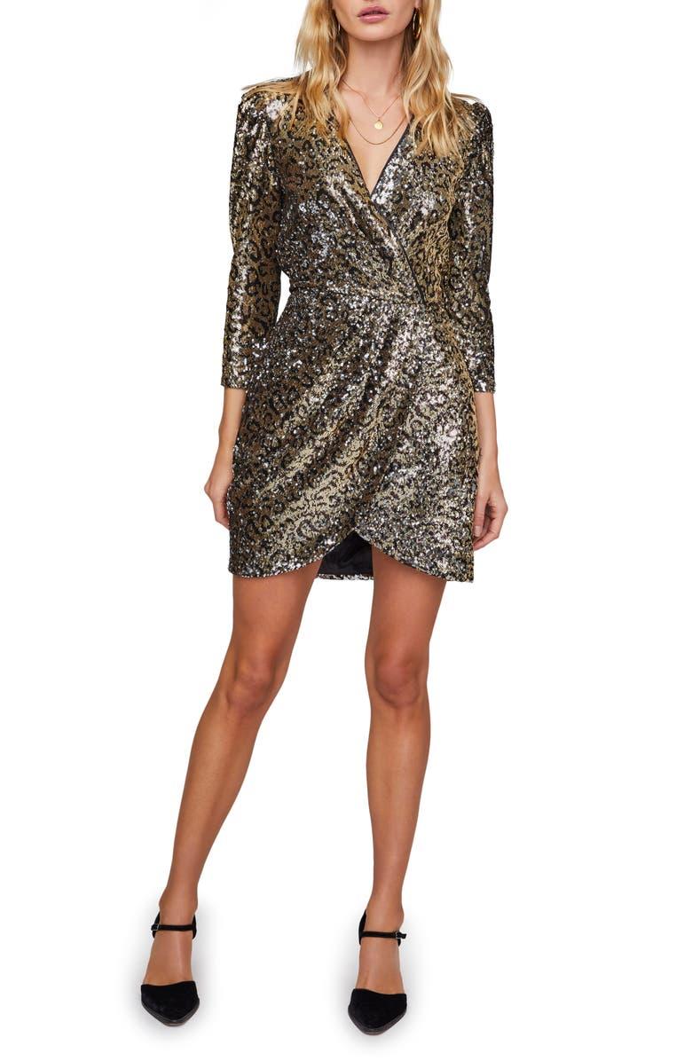 ASTR THE LABEL Selene Long Sleeve Sequin Minidress, Main, color, 710