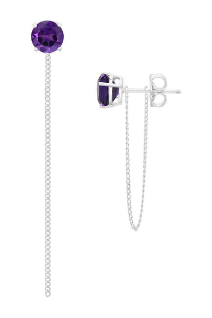 Image of Savvy Cie Sterling Silver White Amethyst Dangle Chain Stud Earrings