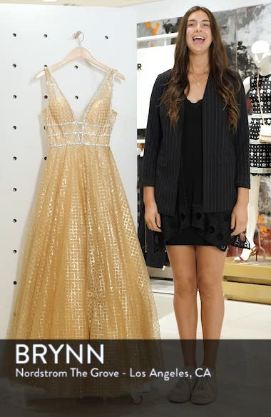 Sequin Illusion Neck A-Line Gown, sales video thumbnail