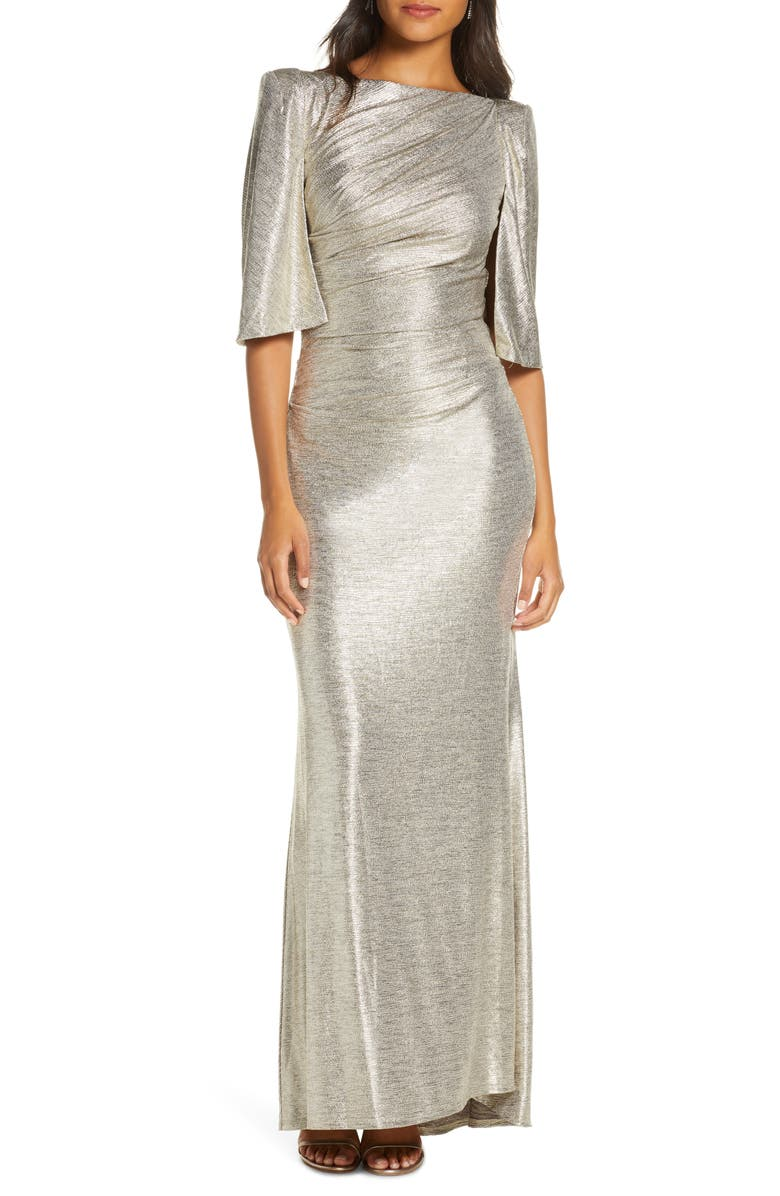 ELIZA J Capelet Sleeve Ruched Evening Gown, Main, color, GOLD
