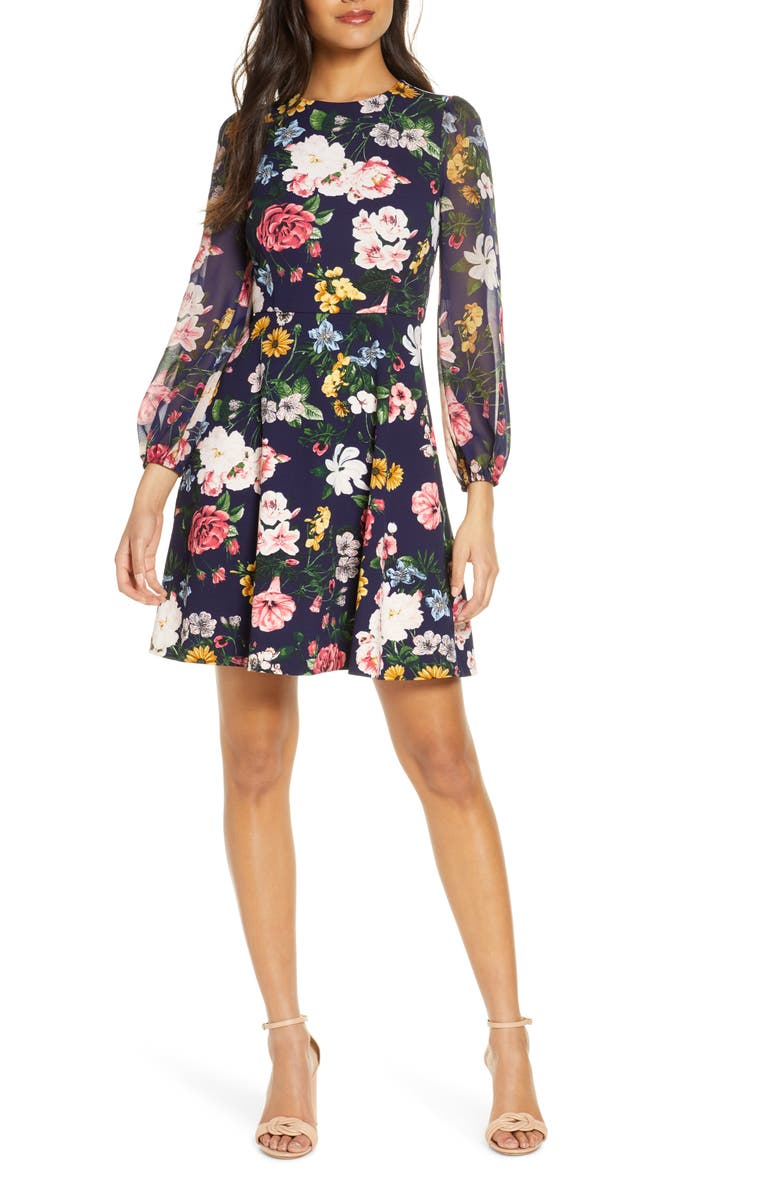 VINCE CAMUTO Long Sleeve Floral Print Dress, Main, color, NAVY MULTI