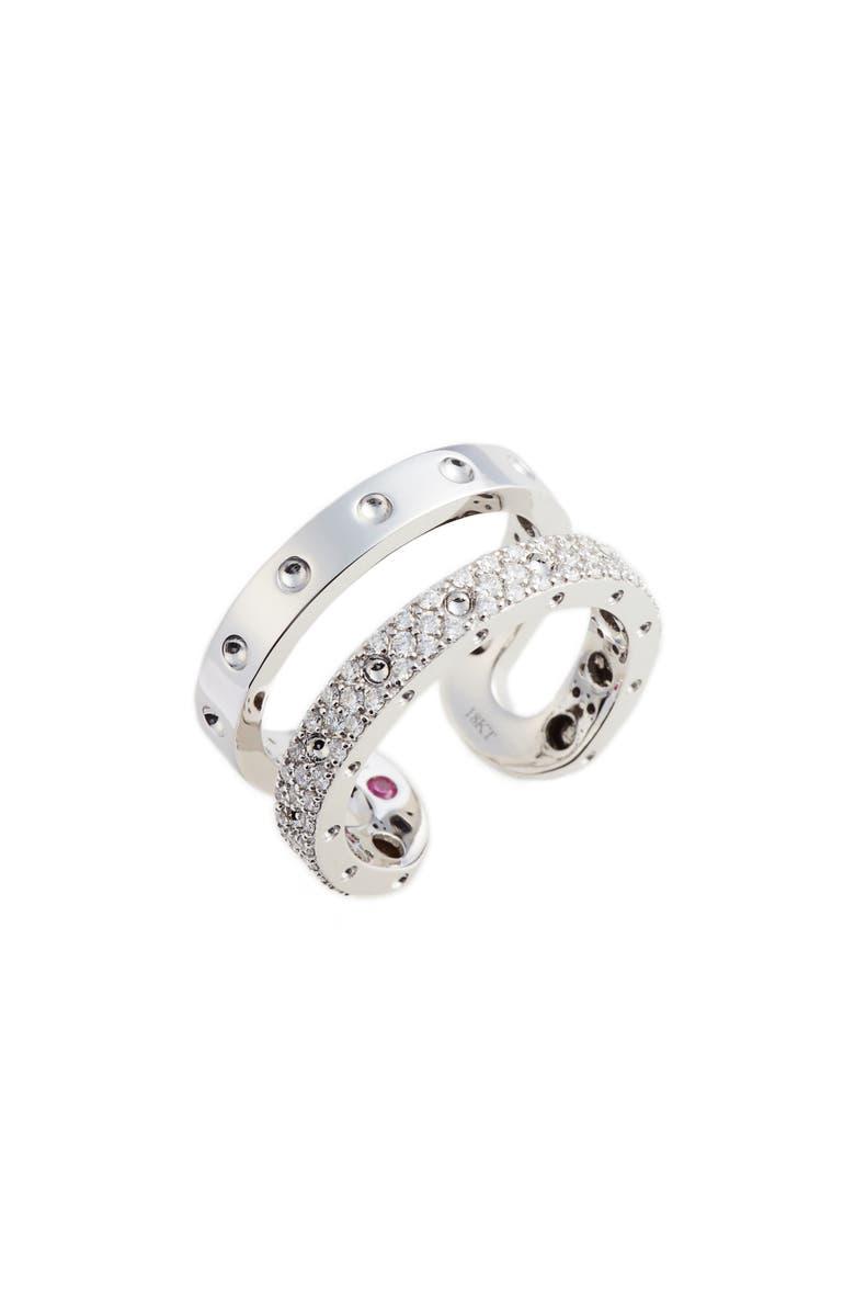 ROBERTO COIN Symphony Double Pois Moi Diamond Ring, Main, color, WHITE GOLD