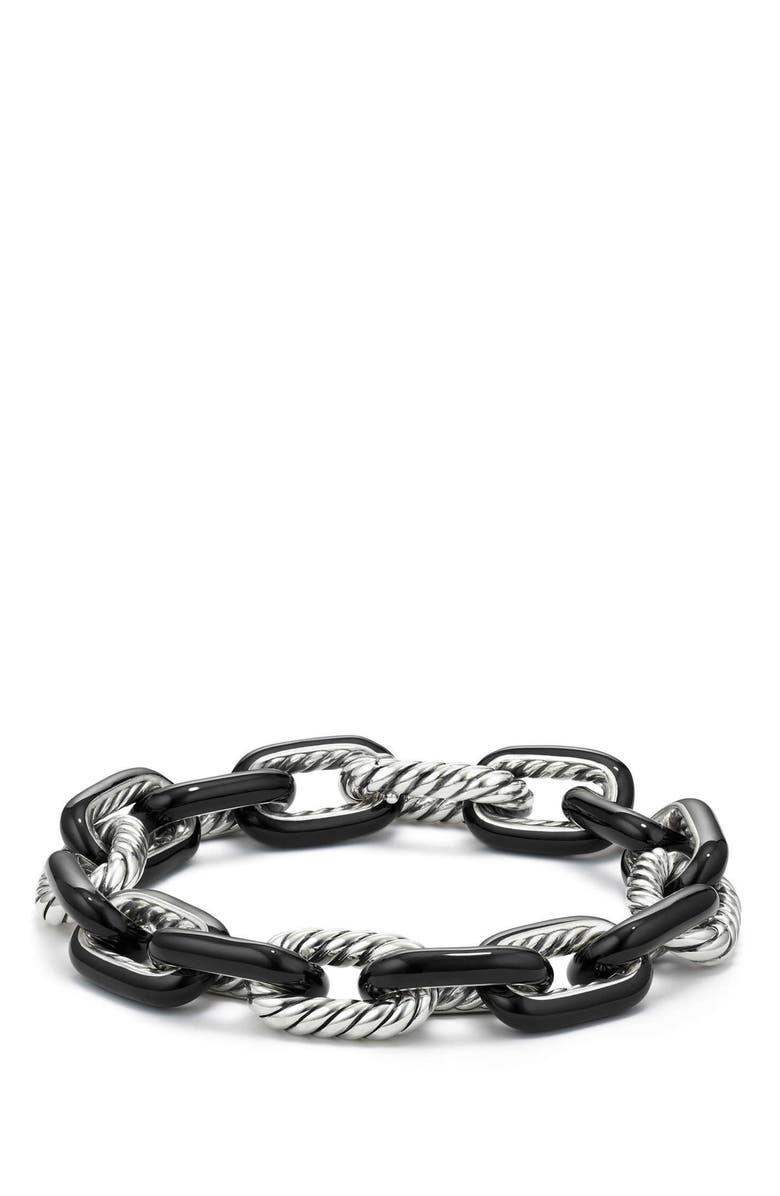 DAVID YURMAN DY Madison<sup>®</sup> Large Enamel Chain Bracelet, Main, color, SILVER/ BLACK