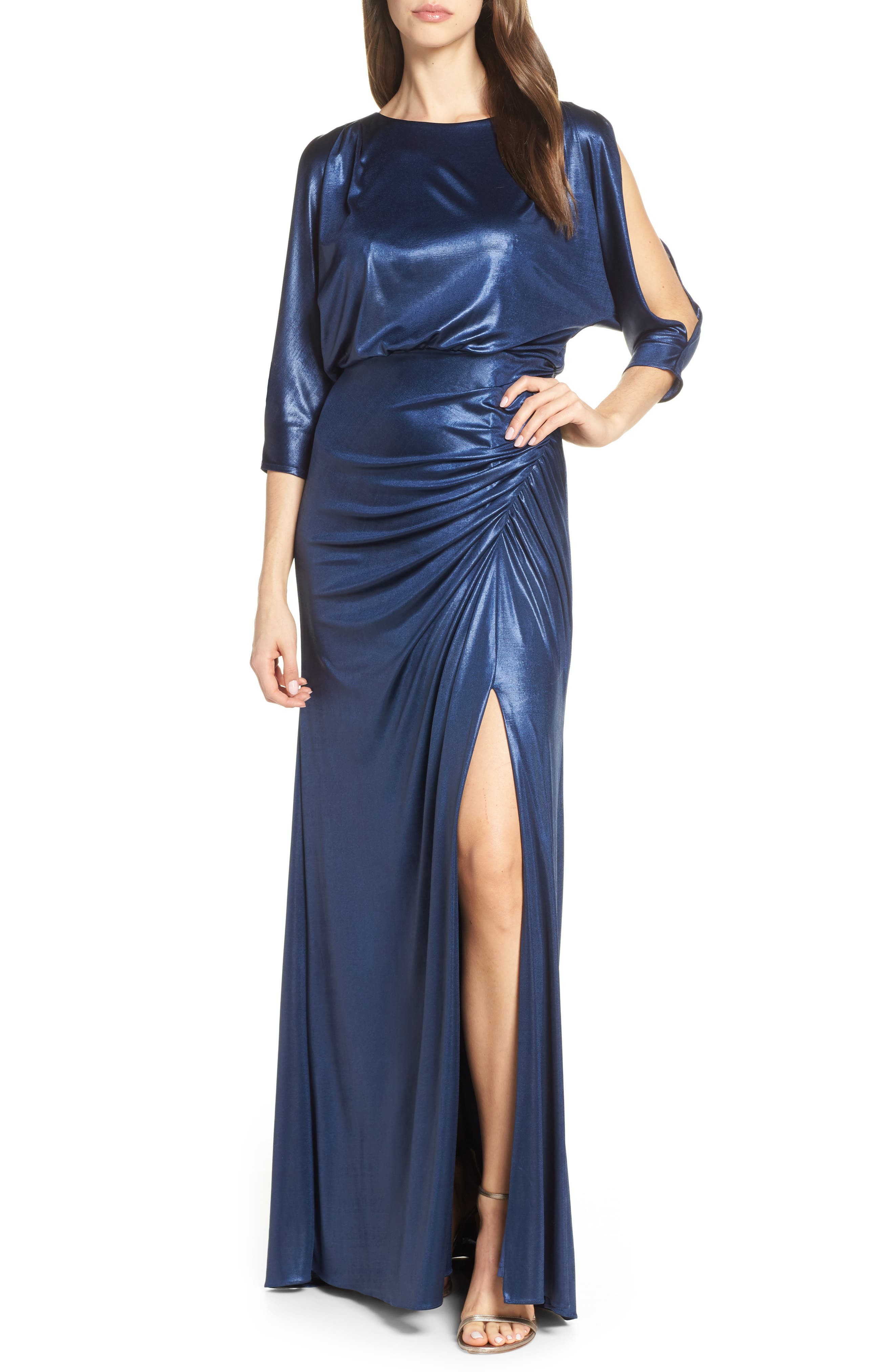 Adrianna Papell Metallic Blouson Evening Dress, Blue