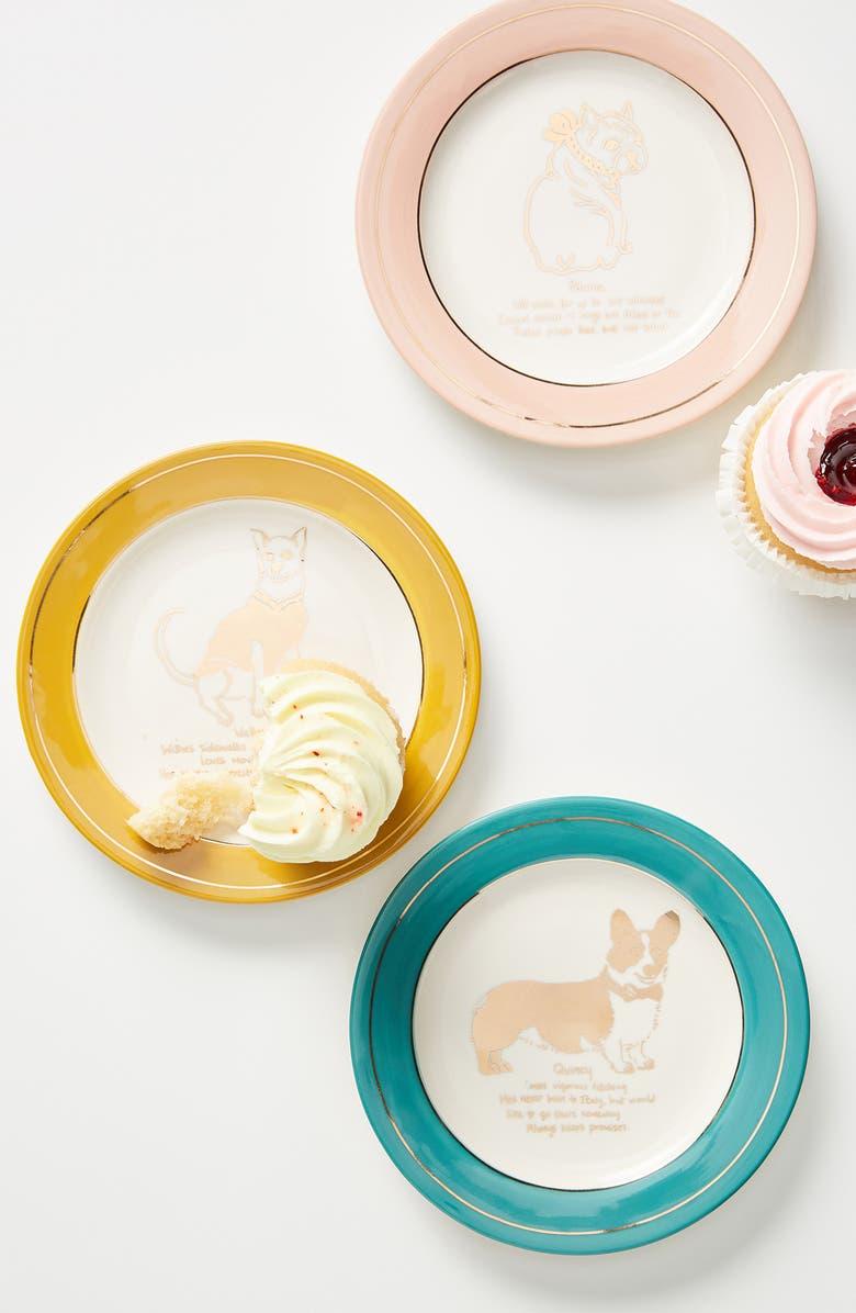 ANTHROPOLOGIE HOME Set of 4 Dog Biography Side Plates, Main, color, 400