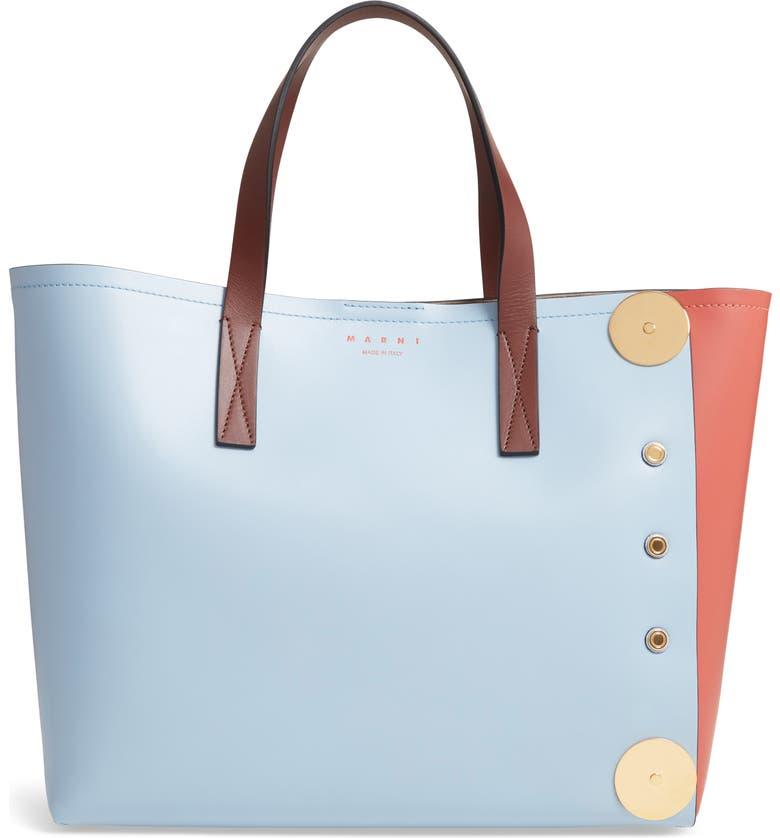 MARNI Colorblock East/West Leather Tote, Main, color, 400