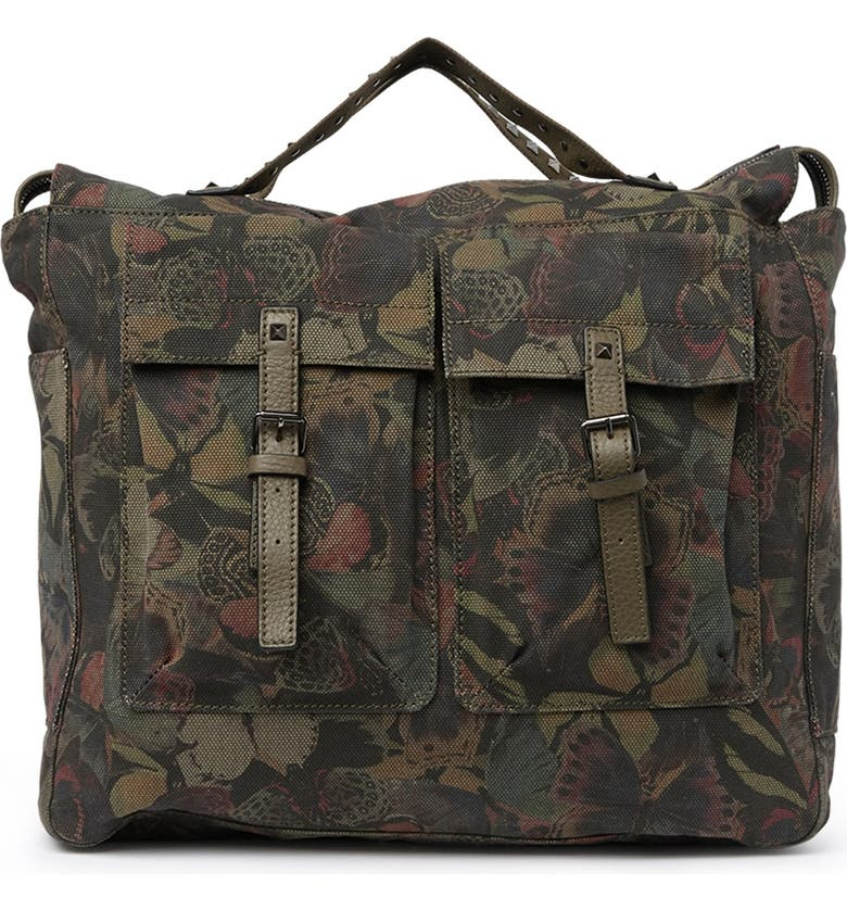 VALENTINO Leather Trimmed Messenger Backpack, Main, color, Y20 ARMY GREEN