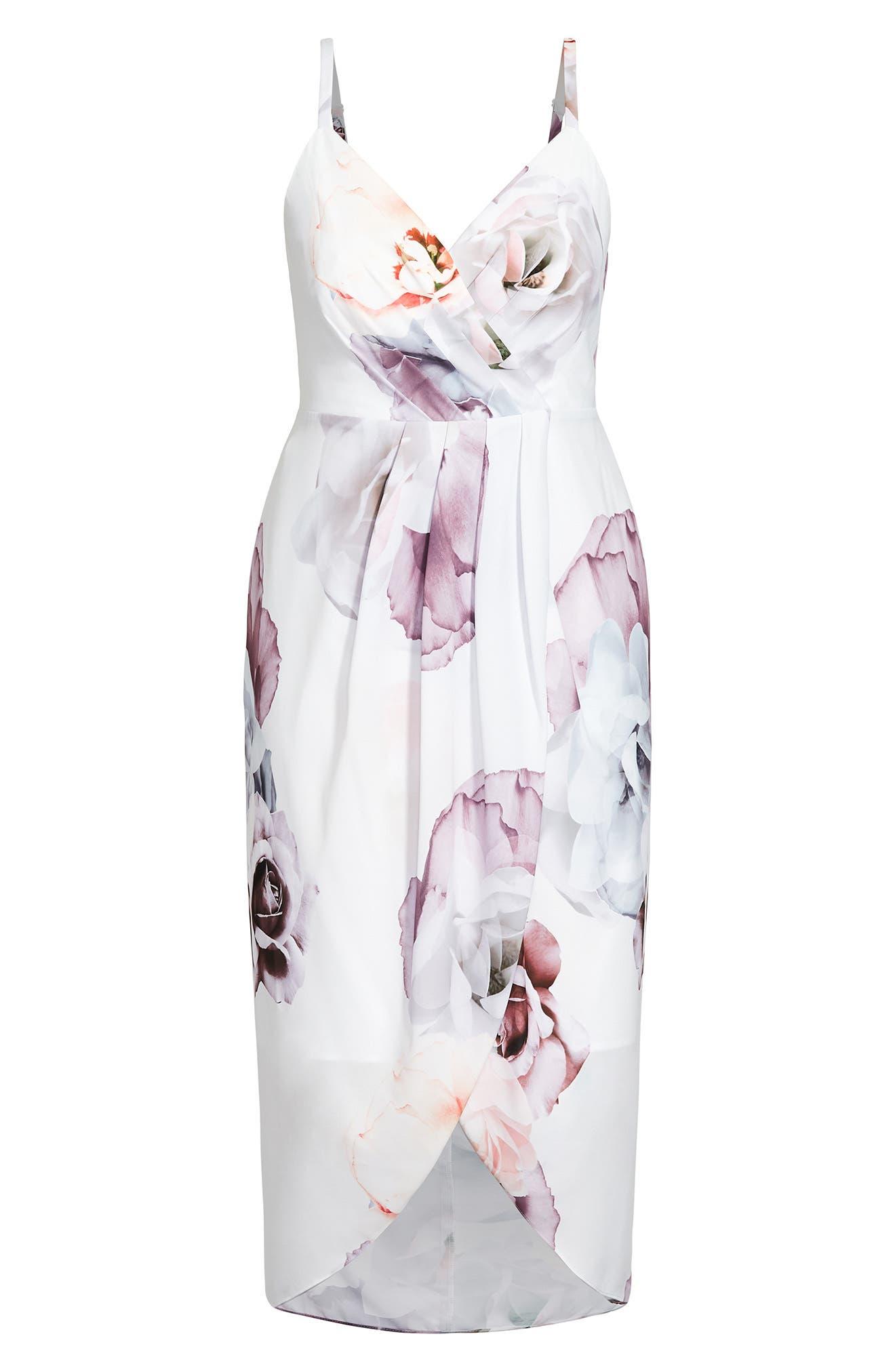 Rosa Floral Print Faux Wrap Dress