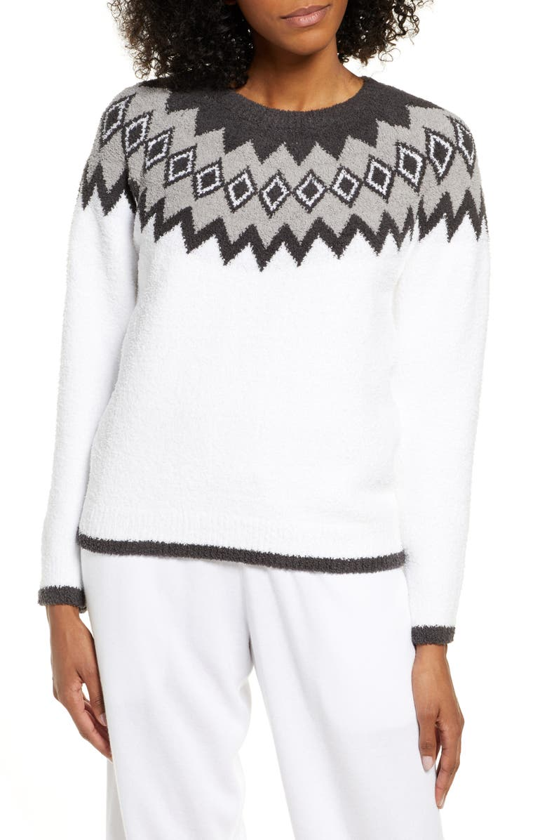 BAREFOOT DREAMS<SUP>®</SUP> CozyChic<sup>™</sup> Nordic Sweater, Main, color, WHITE MULTI