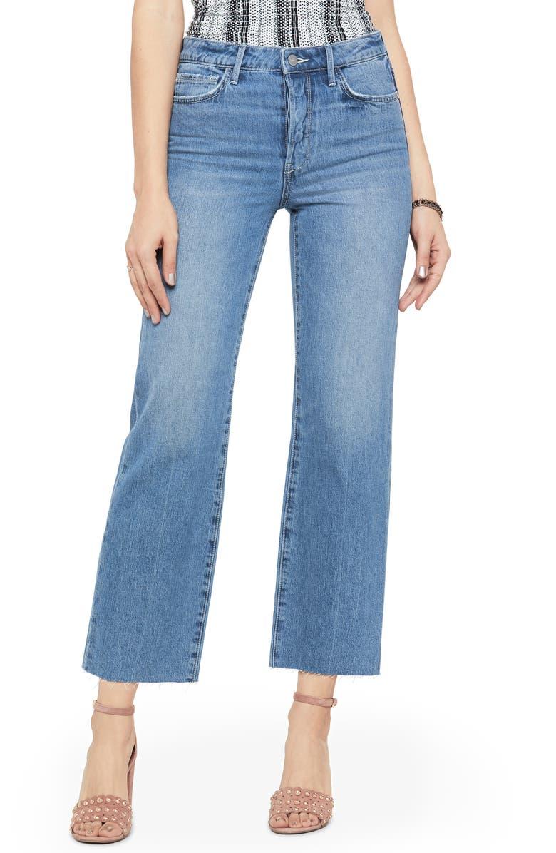 SAM EDELMAN The Chelsea High Waist Raw Hem Crop Wide Leg Jeans, Main, color, ANYA