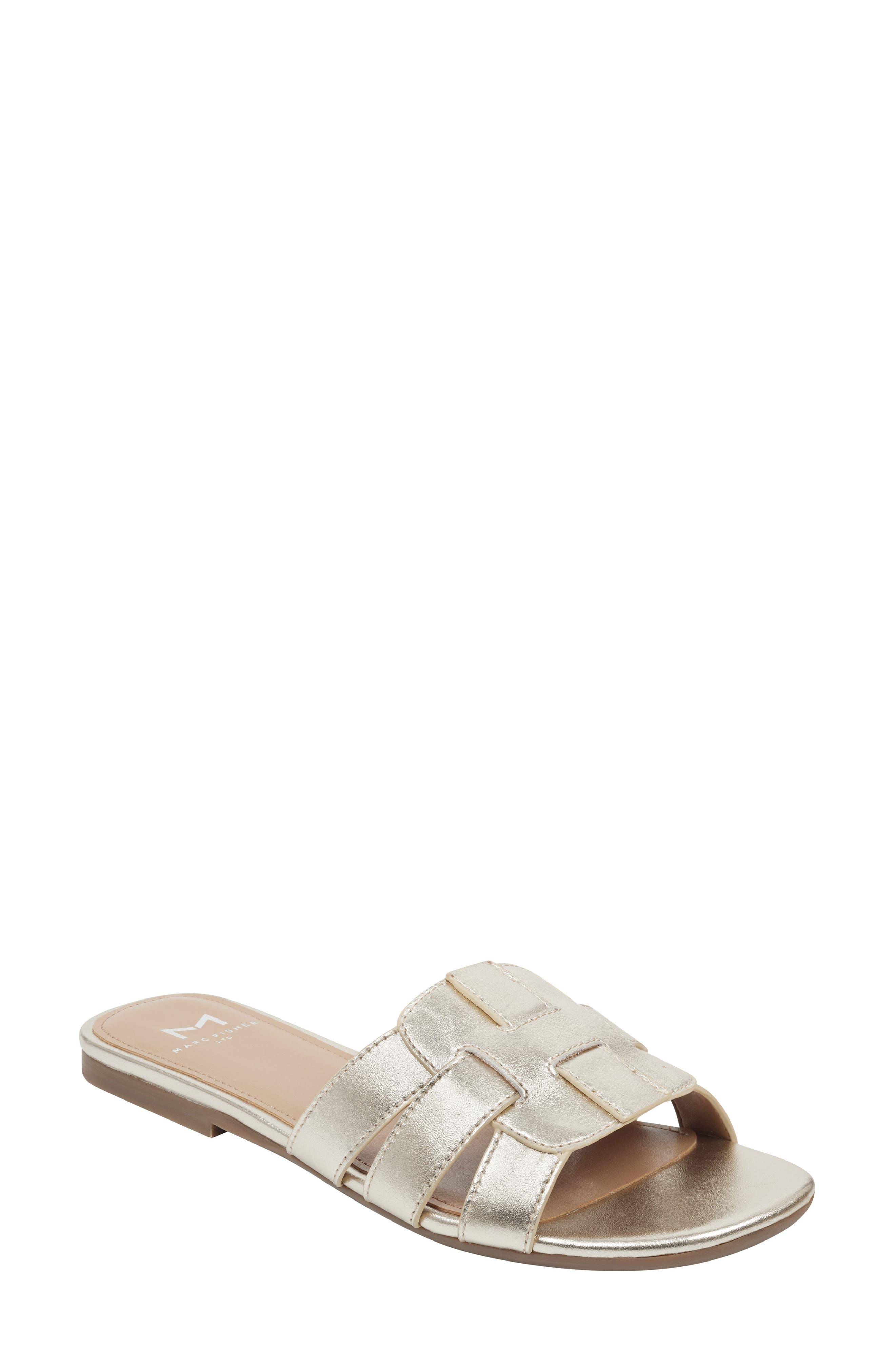 Marc Fisher Ltd Kayli Slide Sandal- Metallic