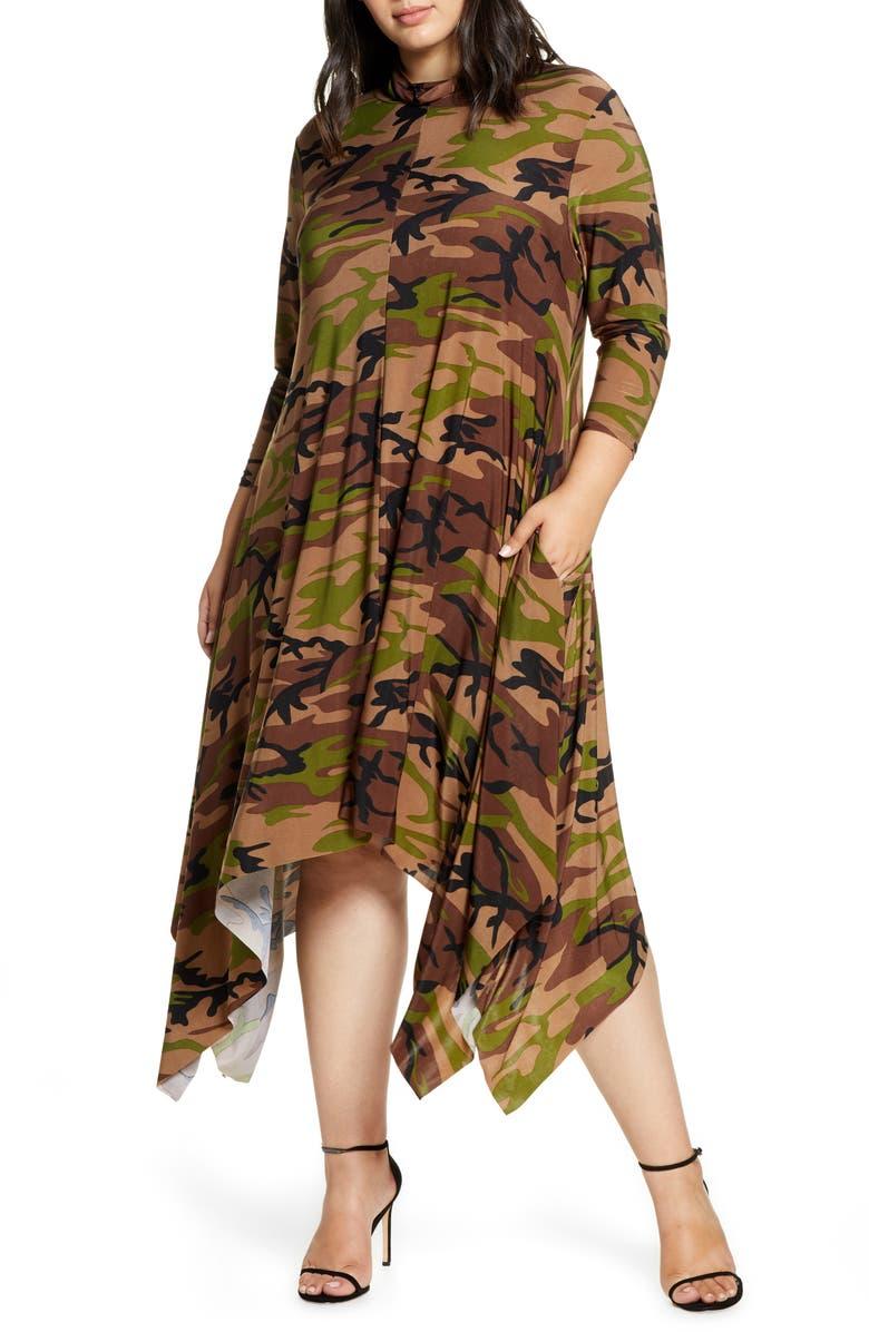 COLDESINA Sandi Print Handkerchief Dress, Main, color, CAMO