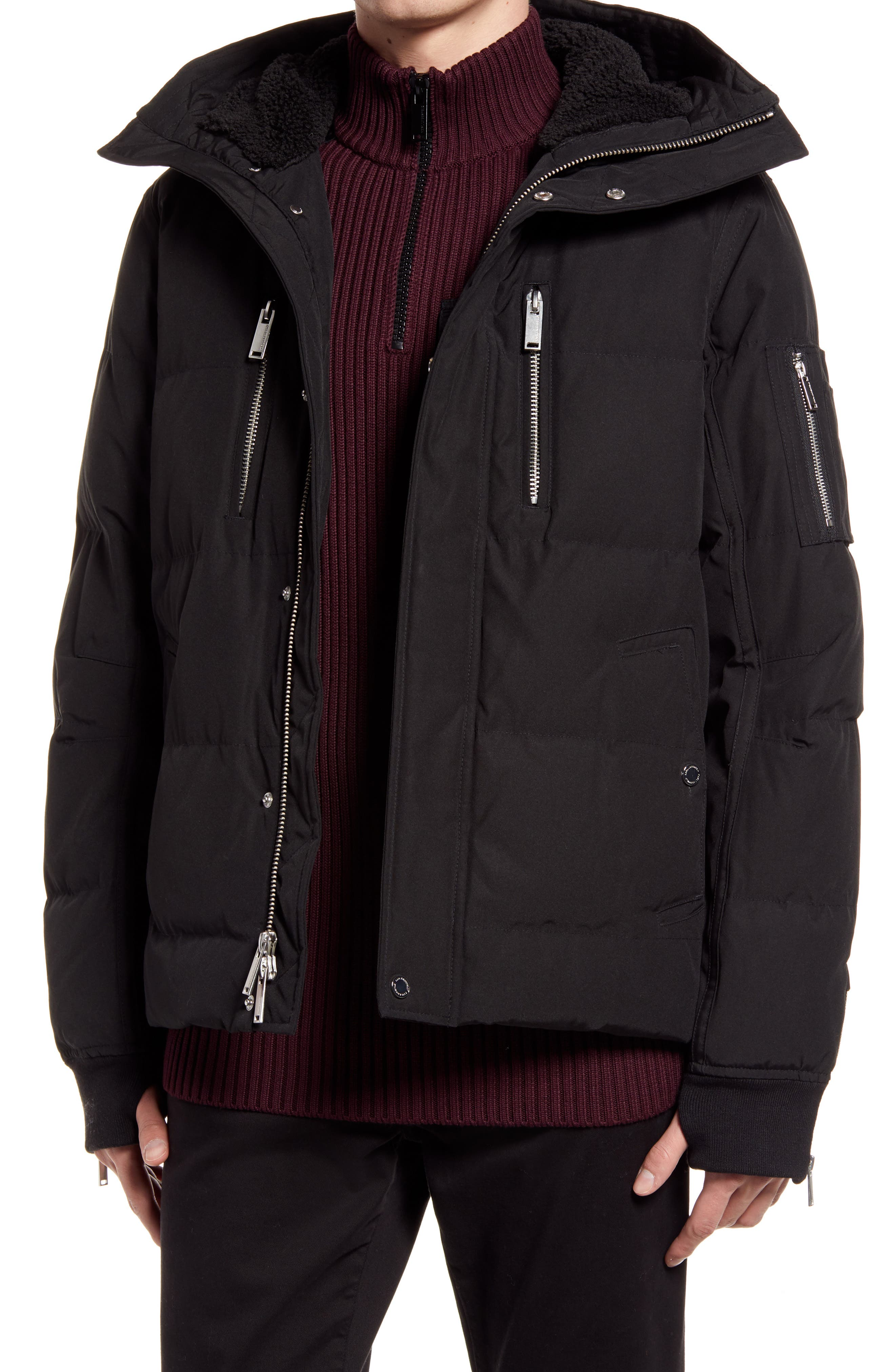 Mid Length Down & Feather Jacket With Faux Shearling Lining