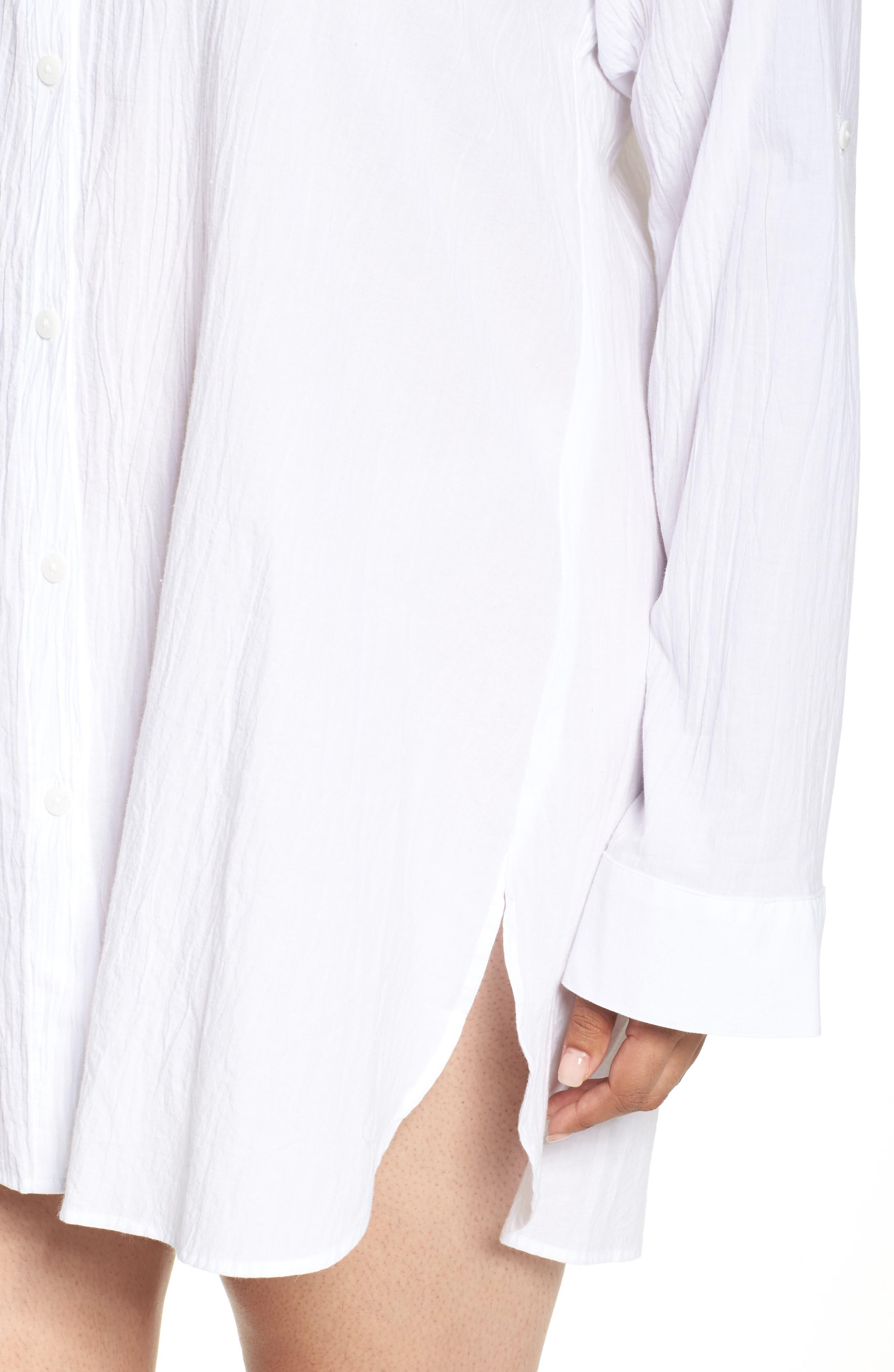 ,                             Boyfriend Shirt Cover-Up,                             Alternate thumbnail 5, color,                             WHITE