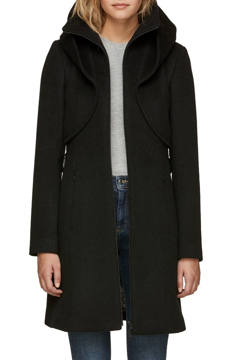 SOIA & KYO Arya Belted & Hooded Wool Blend Coat, Main, color, 001
