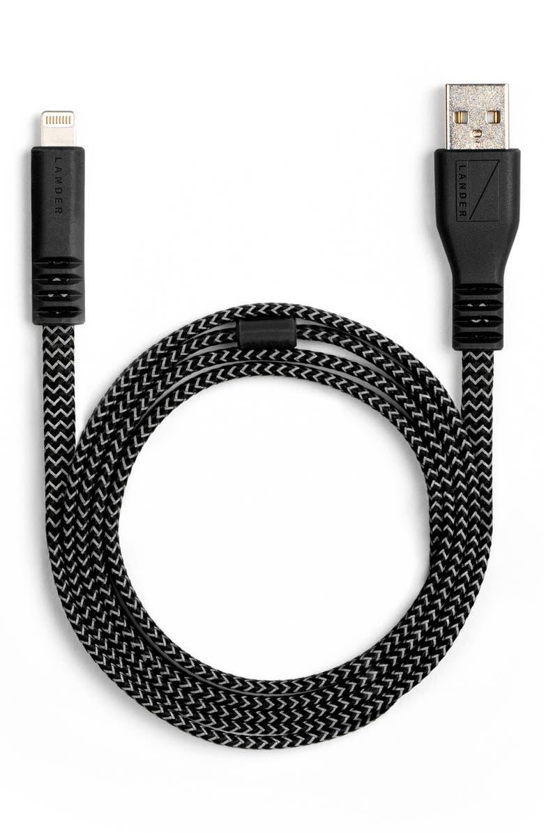 LANDER Neve 3-Foot Lightning USB Cable, Main, color, BLACK
